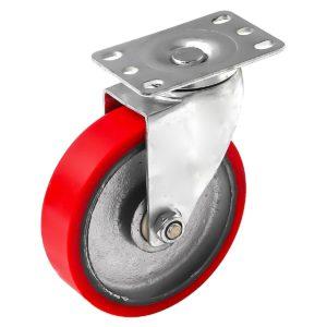 5 inch Red PU Swivel Polyurethane on Cast Iron Wheel Caster No Brake