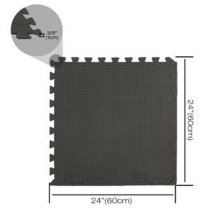"""24 Pack 24""""x24"""" Interlocking Black Floor Foam Mats Exercise Puzzle Tiles"""