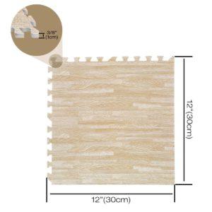 "96 Pack 12""x12"" Interlocking Wood Grain Foam Floor Mats Exercise Puzzle Tiles"