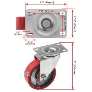 3 inch Red PU Swivel Polyurethane on Cast Iron Wheel Caster No Brake