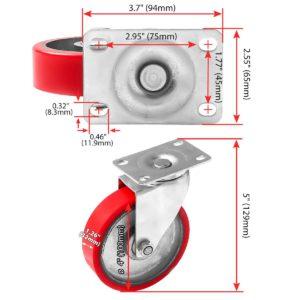 4 inch Red PU Swivel Polyurethane on Cast Iron Wheel Caster No Brake