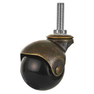 2 inch Black PU Swivel Polyurethane Vintage Ball Wheel Stem Caster No Brake