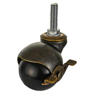 2 inch Black PU Swivel Polyurethane Vintage Ball Wheel Stem Caster With Brake
