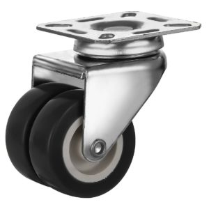 2 inch Black PU Swivel Dual Double Caster No Brake