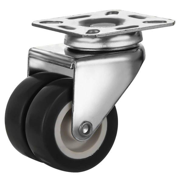 2 inch Black PU Swivel Dual Double Caster No Brake