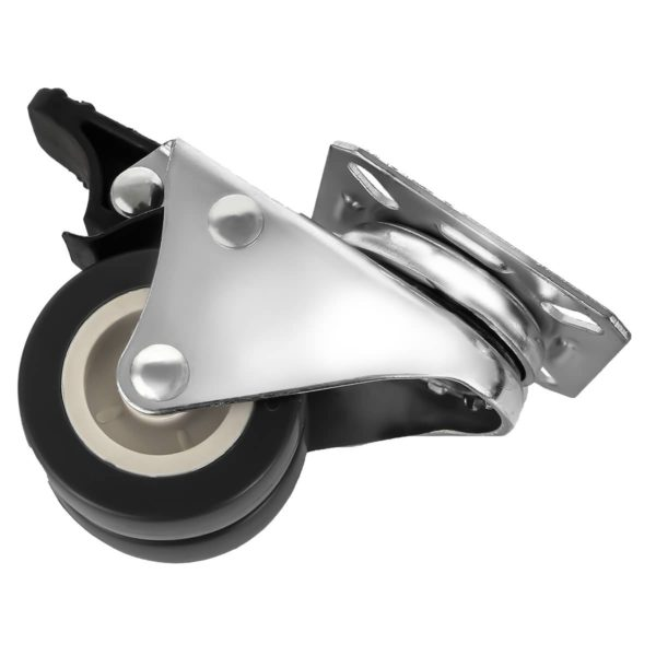 2 inch Black PU Swivel Dual Double Caster With Brake