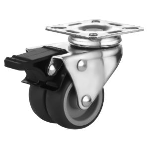2 inch Black TPR PU Swivel Dual Double Caster With Brake