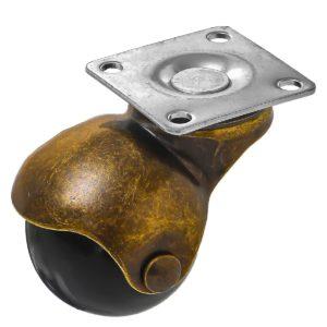 1.5 inch Black PU Swivel Polyurethane Vintage Ball Wheel Caster No Brake