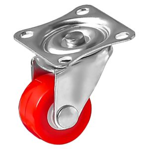 1 Inch Red Mini Rubber Swivel Caster Wheel No Brake