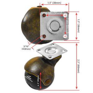 2 inch Black PU Swivel Polyurethane Vintage Ball Wheel Caster No Brake