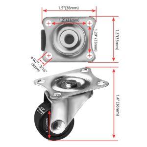 1 Inch Black Mini Rubber Swivel Caster Wheel No Brake