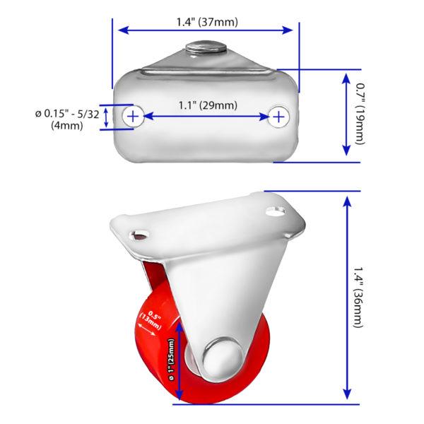 1 Inch Red Mini Rubber Non Swivel Caster Wheel Rigid